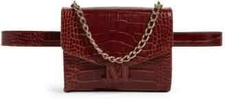 Max Mara Croc-Embossed Leather Chain Belt Bag