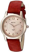 August Steiner Women's AS8198RD Rose Gold Quartz Watch with Rose Gold Dial and Red Suede Leather Strap