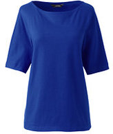 Lands' End Women's Petite Elbow Sleeve Jersey Pullover-Rich Sapphire