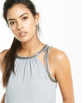Express bead embellished cut-out tank
