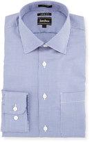 Neiman Marcus Trim-Fit Textured Dress Shirt, Blue