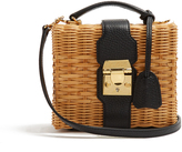 Mark Cross Harley rattan and leather cross-body bag