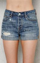PacSun Boston Blue Ripped Cuffed Denim Girlfriend Shorts