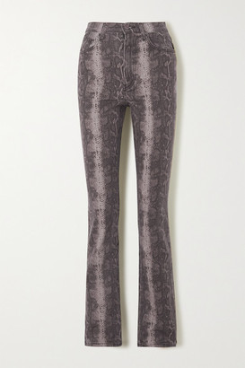 Reformation Cindy Snake-print High-rise Bootcut Jeans - Beige