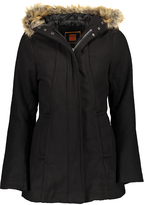 Black Faux Fur Hood Lined Puffer Coat
