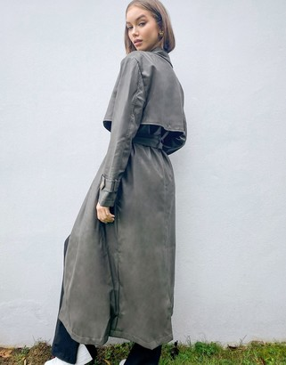 ASOS DESIGN strong shoulder leather-look maxi coat in sage