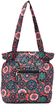Tricoastal Design Pink Floral Medallion Quilted Cinched Tote