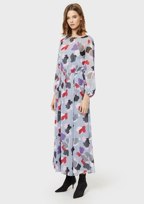 Emporio Armani Long Chiffon Dress With A Stylised Floral Print