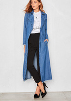 Missy Empire Florence Denim Frayed Edge Trench Coat