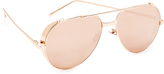 Linda Farrow Luxe Side Shield Aviator Mirrored Sunglasses