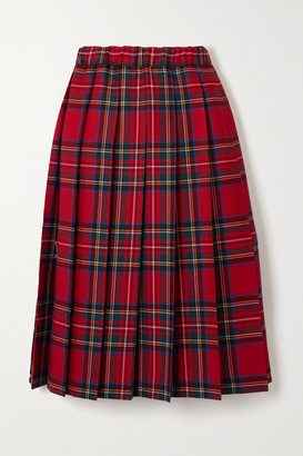 COMME DES GARÇONS GIRL Pleated Checked Wool-twill Skirt - Red