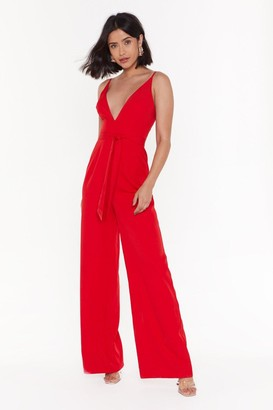 Nasty Gal Womens Wide in There V-neck Jumpsuit - red - 6