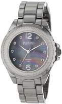 August Steiner Women's AS8064BK Genuine Diamond Mother-Of-Pearl Bracelet Watch