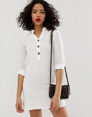 Vero Moda button through longline shirt dress-White