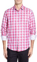 Stone Rose Men's Trim Fit Zigzag Check Sport Shirt