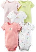 Carter's Baby Girls' 5-Pack Little Blooms Short-Sleeve Bodysuits