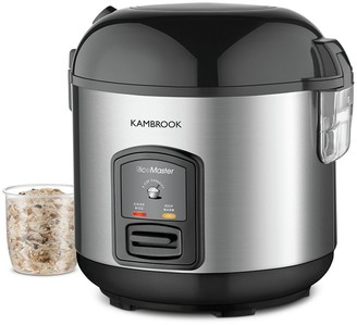 Kambrook Rice Express Stainless Steel 5 Cup Rice Cooker & Steamer Silver & Black