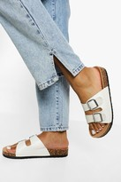 Thumbnail for your product : boohoo Double Buckle Footbed Slider