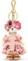 Prada Embellished Jacquard And Faux Fur Keychain - Pink