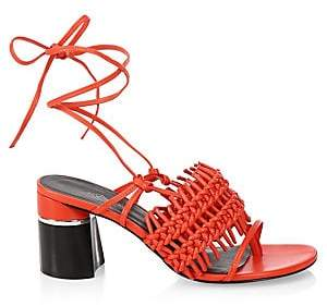 3.1 Phillip Lim Women's Drum Crochet Leather Block-Heel Sandals