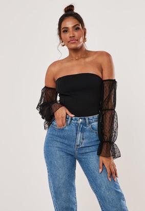 Missguided Black Bardot Dobby Mesh Puff Sleeve Bodysuit