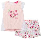Betsey Johnson Polka Dot Top & Floral Ruffle Short Set (Toddler Girls)