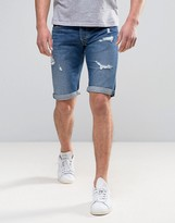 Pepe Jeans Pepe Cash Regular Fit Denim Short Medium Destroyed Wash