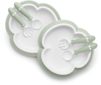 BABYBJÖRN Plate, Spoon and Fork Powder Green 2-Pack
