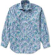 Thomas Dean Paisley Print Long-Sleeve Woven Shirt