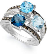 LeVian Le Vian Blue Topaz (2-9/10 ct. t.w.) and Diamond (3/8 ct. t.w.) 3 Stone Ring in 14k White Gold