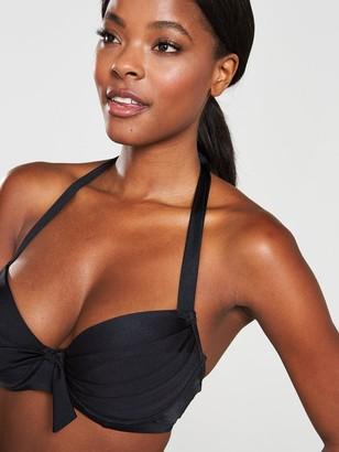 Pour Moi? Azure Padded Halter Bikini Top - Black