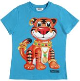 Moschino Tiger Printed Cotton Jersey T-Shirt