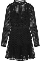 Self-Portrait Ruffled Organza-trimmed Guipure Lace Mini Dress - Black