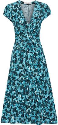 Diane von Furstenberg Cecil Ruched Floral-print Crepe Midi Dress