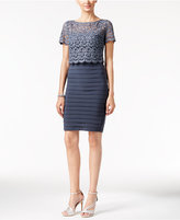Betsy & Adam Banded Lace-Popover Sheath Dress