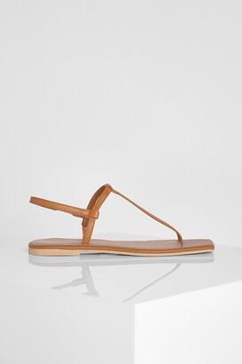 boohoo Leather Square Toe Basic Sandals