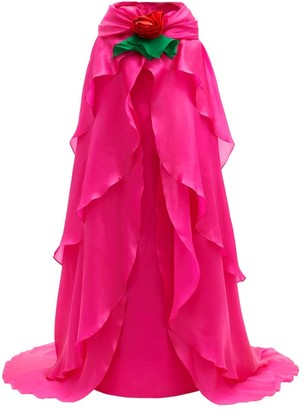Richard Quinn Rose-corsage Tiered Cape-back Silk-chiffon Gown - Pink