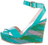 M Missoni Leather Wedge Sandals