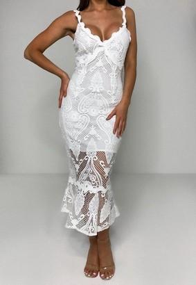 Missguided White Lace Cami Bodycon Midi Dress