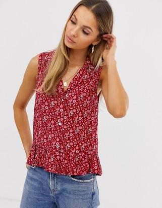 Vila vintage floral sleeveless shirt