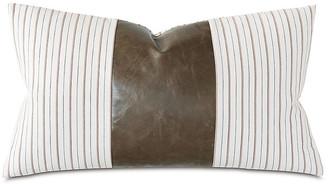 One Kings Lane Emily 15x26 Leather Lumbar Pillow - Brown/White