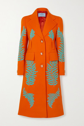 Prada Bead-embellished Wool Coat - Orange
