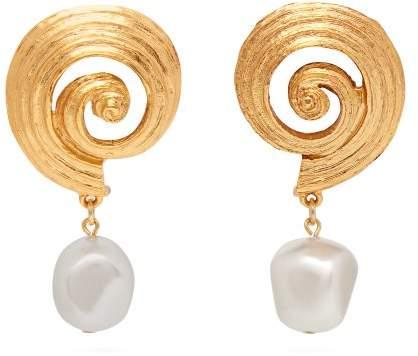 Oscar de la Renta Shell And Faux Pearl Earrings - Womens - Gold