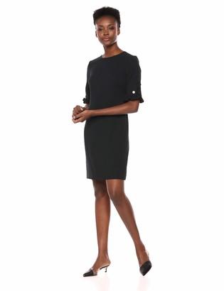 Karl Lagerfeld Paris Women's Ruffle Pearl Trim Crepe Dress