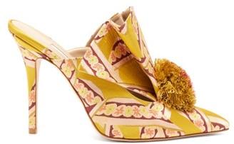 Andrea Mondin - Antoinette Pom-pom Brocade Mules - Womens - Yellow Multi
