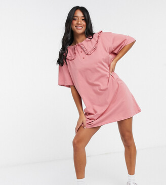 ASOS DESIGN Petite mini tea dress with oversized prarie collar in rose