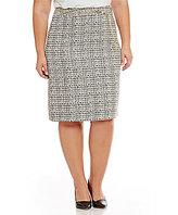 Tahari ASL Plus Beaded-Belt Boucle Pencil Skirt
