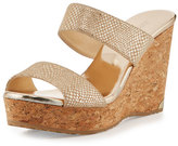 Jimmy Choo Parker Snake-Print 100mm Wedge Sandal, Doré;