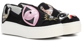 Kenzo Velvet sneakers with embroidered appliqués