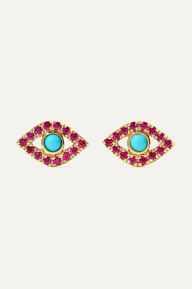 Sydney Evan Small Evil Eye 14-karat Gold, Ruby And Turquoise Earrings - one size